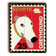 Greyhound Postage Stamp by Artist Ginger Oliphant Wood Sign