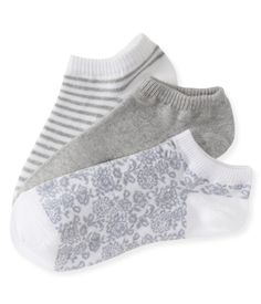 3-Pack Lace, Solid & Stripe Ped Socks