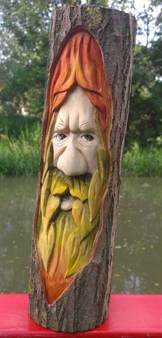 Sunrise is a hand carved woodspirit, greenman. Carved from a willow windfall branch he is approx. 16 inches tall and 4 inches across. He has taken approximately two days to produce using small woodworking tools and is suitable for both home or garden.