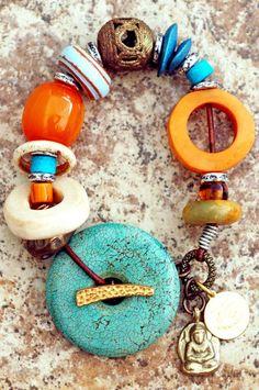 Designer Charm Bracelet   Amber   Turquoise   Buddha  XO Gallery   XO Gallery