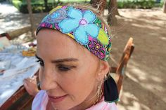 Rainbow woman headband, Hippie beach headband, Festival women bandana, Cotton elastic headband, Blue Floral summer headband, modern recycle