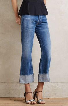 Peplum and kick flare jeans with Kate Spade heels Flare Jeans Outfit, Kick Flare Jeans, Denim Outfit, Jean Outfits, Casual Outfits, Cute Outfits, Summer Outfits, Casual Chic, Estilo Jeans