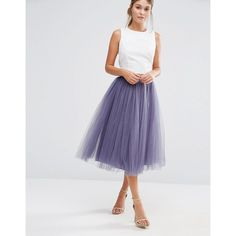 Little Mistress Tulle Midi Skirt (£42) ❤ liked on Polyvore featuring skirts, grey, grey skirt, zip skirt, high waisted knee length skirt, high-waisted skirt and gray skirt