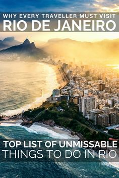 Rio de Janeiro, Brazil; Why every traveller must visit Rio de Janeiro and read our top list of unmissable things to do in Rio de Janeiro; Carnival at the Sambadrome; Cristo Redentor (Christ the Redeemer Statue), Sugarloaf Mountain, Copacabana beach, Jardim Botanico (Botanic Gardens Rio de Janeiro), Ipanema & Leblon, Santa Teresa Tram, Centro downtown and the Copacabana Palace hotel.
