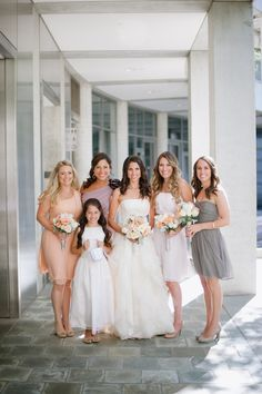 Peach Lavender and Taupe Bridesmaids Dresses (diff dresses but still coordinating)