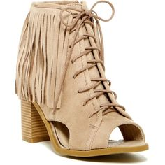 Nature Breeze Aton Fringe Cuff Open Toe Bootie ($30) ❤ liked on Polyvore featuring shoes, boots, ankle booties, ankle boots, beige suede, fringe bootie, high heel booties, faux suede booties, short fringe boots and open toe ankle boots