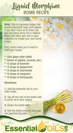 Essential oils have many uses, including the ability to ease pain. Check out this Morphine Bomb rollerball recipe to curb all different forms of pain. Essential Oils For Pain, Essential Oils Guide, Essential Oil Diffuser Blends, Essential Oil Uses, Doterra Essential Oils, Young Living Essential Oils, Essential Oils For Fibromyalgia, Essential Oils For Inflammation, Manuka Essential Oil