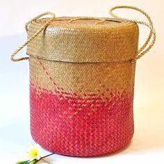 Wäschekorb Gartenkorb aus Bast beige rot 50cm hoch