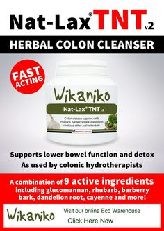 Nat-Lax Bowel Cleanser - A combination of  9 active ingredients, supporting lower bowel function and detox, as used by colonic hydro therapists.