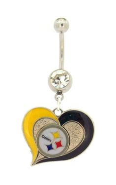 Pittsburgh Steelers swirl heart clear gem belly navel ring #72 new FREE SHIP