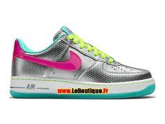 reputable site 9279d c718b Nike Air Force 1 Low GS - Chaussures Nike Sportswear Pas Cher Pour Femme Fille  Argent métallique Hyper rose Hyper jade Volt 314219-011