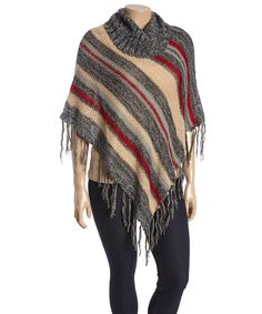 This Black & Tan Stripe Fringe Poncho - Plus by Rouge is perfect! #zulilyfinds