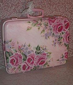 Pink hand painted suitcase by shbbychicartist.