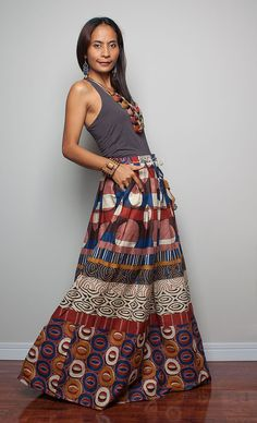 Floor Length Skirt  Boho Maxi Skirt  Feel Good by Nuichan on Etsy, ~Latest African Fashion, African women dresses, African Prints, African clothing jackets, skirts, short dresses, African men's fashion, children's fashion, African bags, African shoes ~DK
