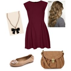 Woman's fashion /Burgundy and tan outfit