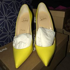 PIGALLE FOLLIES 100 PATENT SUN Authentic! Comes with original box, dust bag, receipt and heel tap. 🅿🅿 only. I am open to all offers thru an email. Will give a better deal if you buy 2 or more of my items. Send me an email at yendang728@gmail. serious buyer ONLY! All others will be ignore. Know your size. Brand new never worn!!! Christian Louboutin Shoes Heels