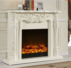 Ivory White Antique Decor Flame Electric Fireplace And Mantel Product On