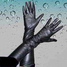 "50Cm(19.75"") Women'S 100% Real Leather Black Long Opera Gloves"