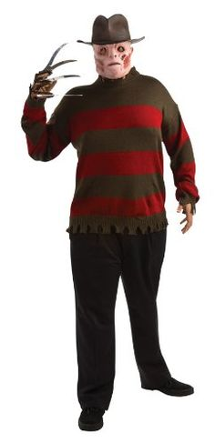 Nightmare On Elm Street Deluxe Sweater Red/Black Plus Costume @ niftywarehouse.com