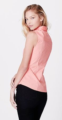 LE3NO Womens Lightweight Cotton Sleeveless Button Down Shirt at Amazon Women's Clothing store: