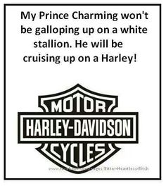 HARLEY DAVIDSON --- Mine's already drove up, I'm married to him. Now we cruise together.
