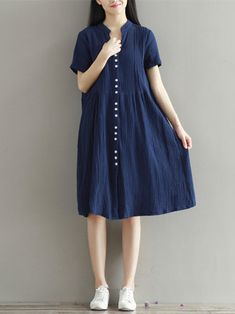 Women Short Sleeve Buttons Split Round Neck Loose Dresses