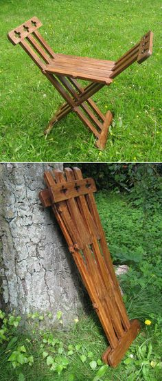 """Reproduction wooden chair which, as it is assumed, the Romans took with them on their long marches across Europe. Measurements: Seating: 37 x 25 cm (14.5 x 9.8"""") Height of seating: 50 cm (19.6"""") Width of arm rests: 35 cm (13.7"""") Max. width when unfolded: 78 cm (30.7"""") Length when folded: 90 cm (35.4"""") Weight: 5 kg"""