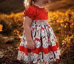 Girls Peasant Dress in Deer Park Sizes 18 by MarieVivDesigns