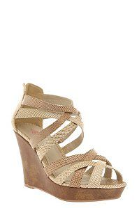 Lena Beige Snake Print Strap Wedge (Wide Width) | Shoes