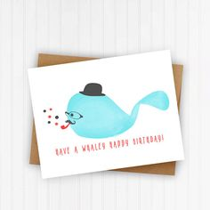 Punny Whale Birthday Card: Unique cute adorable by DesignsFrankly