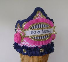 60th Birthday Party Pink and Navy - Adult Birthday Party Crown/Hat- 60 & Sassy or customize on Etsy, $24.00