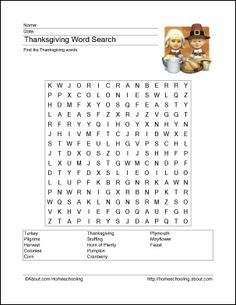 Thanksgiving Wordsearch, Crossword Puzzle, and Activity Printables