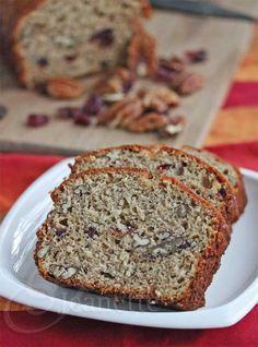 Banana Pecan Cranberry Bread © Jeanette's Healthy Living #snack #breakfast #kidfriendly