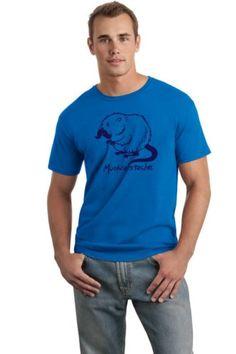 Muskratstache Muscrat Mustache Funny Novely T Shirt (Medium Blue)