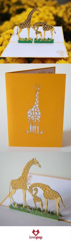 An adorable family of giraffes pops up from this unique greeting card. Perfect for a new baby or a kids birthday, this pop up card will definitely make them smile.: