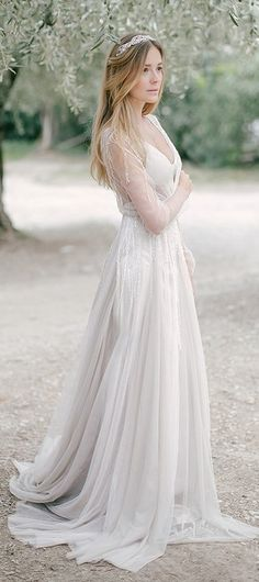 Long Sleeved Pale Grey Boho Wedding Dress with Beading Tassels by Miss Zhu Bridal, $236.41 USD
