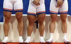 Thighs matters: Germany's Robert Forstemann (centre), Stefan Nimke (left) and Maxillian Levy stand on the podium after winning the men's team sprint final (London Word Cup, February 2012)