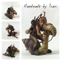 Elf riding snail,art doll,polymer clay, by Feythcrafts ,Traci Howard