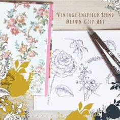 Hand Drawn Clip Art Vintage Style - Alba  A really versatile set that contains vintage style hand drawn elements. You get 16 individual elements; 8