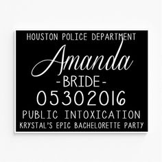 This listing is for customized Bachelorette Party Mugshot signs. Perfect for your Bachelorette bash, and an amazing photo prop for all your girls! Your custom Bachelorette Party Mugshot signs are printed on heavy duty 80lb. cardstock. Shipped in a sturdy no-bend photo mailer to