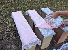 Spray paint through lace and the lace pattern transfers onto the drawers