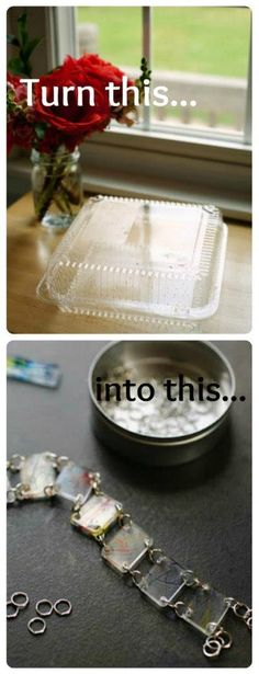 1. Find a #6 plastic container (the one I used was from our grocery store bakery) and wash it in warm soapy water. Make sure to remove any stickers or sticky residue and dry thoroughly.  2. Cut out a flat piece of plastic and draw your design on it using permanent markers. I had Abe scribble on the plastic before cutting it into smaller shapes, but you could cut out the shapes first if your little artist is able to work on such a tiny canvas.