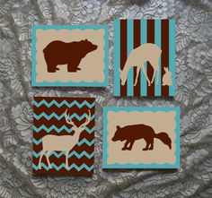 Set of 4 Nursery Forest Animal Silhouettes Hand by WallsThatTalk