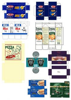 Printable Assorted Food Labels – Minnesota Miniatures Market Printable modern food labels in scale. Ready to cut and fold. Barbie Food, Doll Food, Barbie Dolls, Doll House Crafts, Doll Crafts, Miniature Crafts, Miniature Dolls, Dollhouse Miniature Tutorials, Diy Dollhouse Miniatures