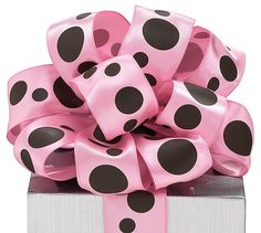 PINK with BROWN PolKa DoT SATIN RiBbOn