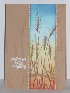 kraft paper card ... wheat ... faux stitching ... shadow stamping ... sponged color band over stamped with wheat image ... lovely ...