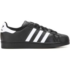 Adidas Superstar Foundation Leather Sneakers ($105) ❤ liked on Polyvore featuring shoes, sneakers, black trainers, real leather shoes, black shoes, genuine leather shoes and black leather trainers