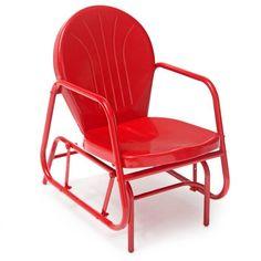 Outdoor Glider Vintage Retro Metal Chair Red Porch Patio Deck Back Yard Garden | eBay