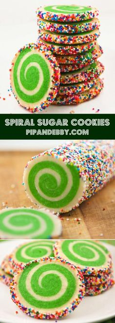 Spiral Sugar Cookies - these cookies are a festive addition to any occasion!just change the color of the dough accordingly! Can add different colored sprinkles through out the holidays christmas desserts creative Holiday Cookies, Holiday Desserts, Holiday Baking, Holiday Treats, Holiday Recipes, Christmas Recipes, Summer Cookies, Valentine Cookies, Easter Cookies