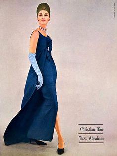 Wilhelmina in sapphire blue gown by Christian Dior, 1962